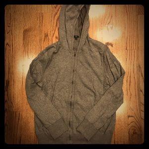 EUC Gap men's gray zip up hooded sweater